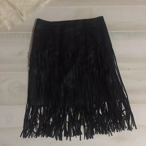 NWT Mossimo faux leather fringed skirt